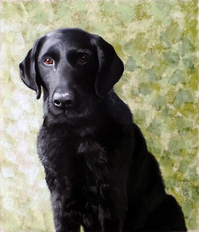"""Chester commissioned dog portrait"" original fine art by Ria Hills"