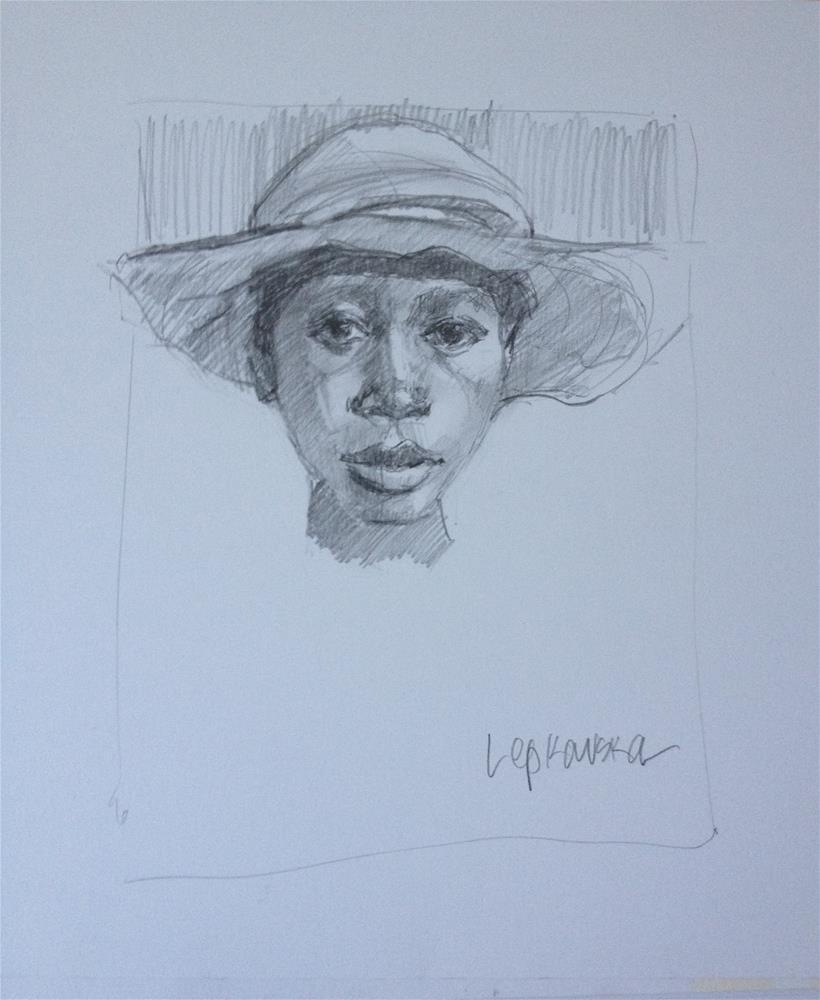 """A Boy and his Hat"" original fine art by Laurie Johnson Lepkowska"