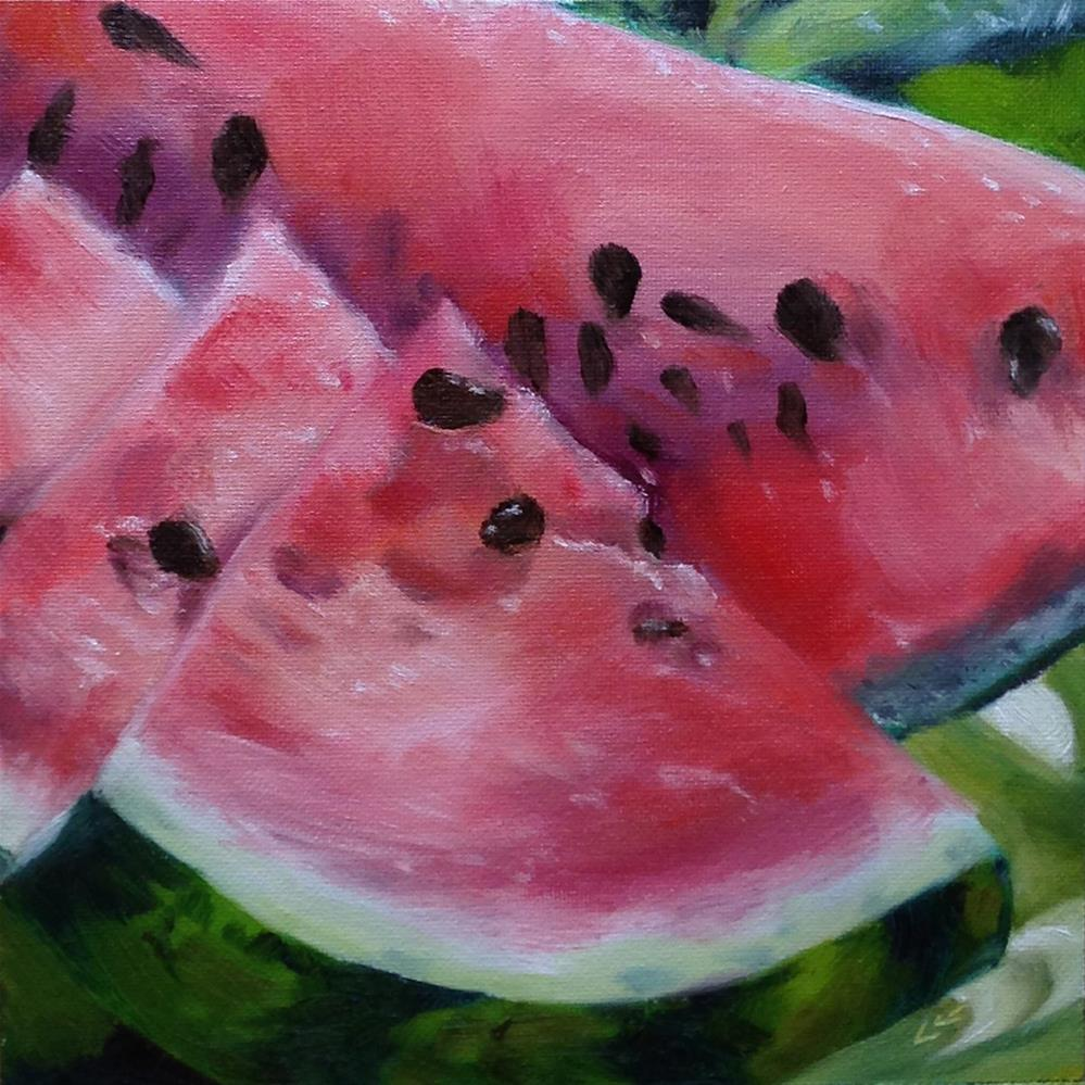 """Summer Melon"" original fine art by Linda Lowery"