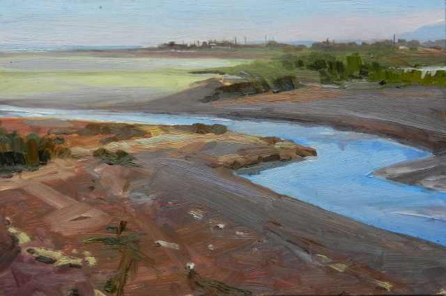 """Dungeness Estuary  plein air , oil , landscape painting by Robin Weiss"" original fine art by Robin Weiss"