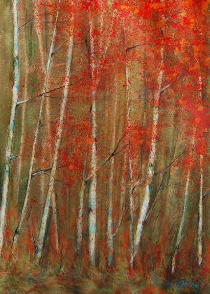 """""""Autumn Birch"""" original fine art by Jani Freimann"""