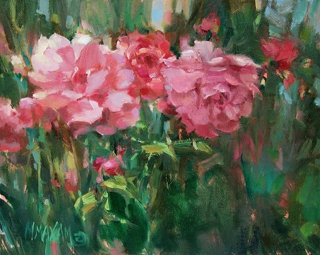 """""""Auction - Side By Side"""" original fine art by Mary Maxam"""