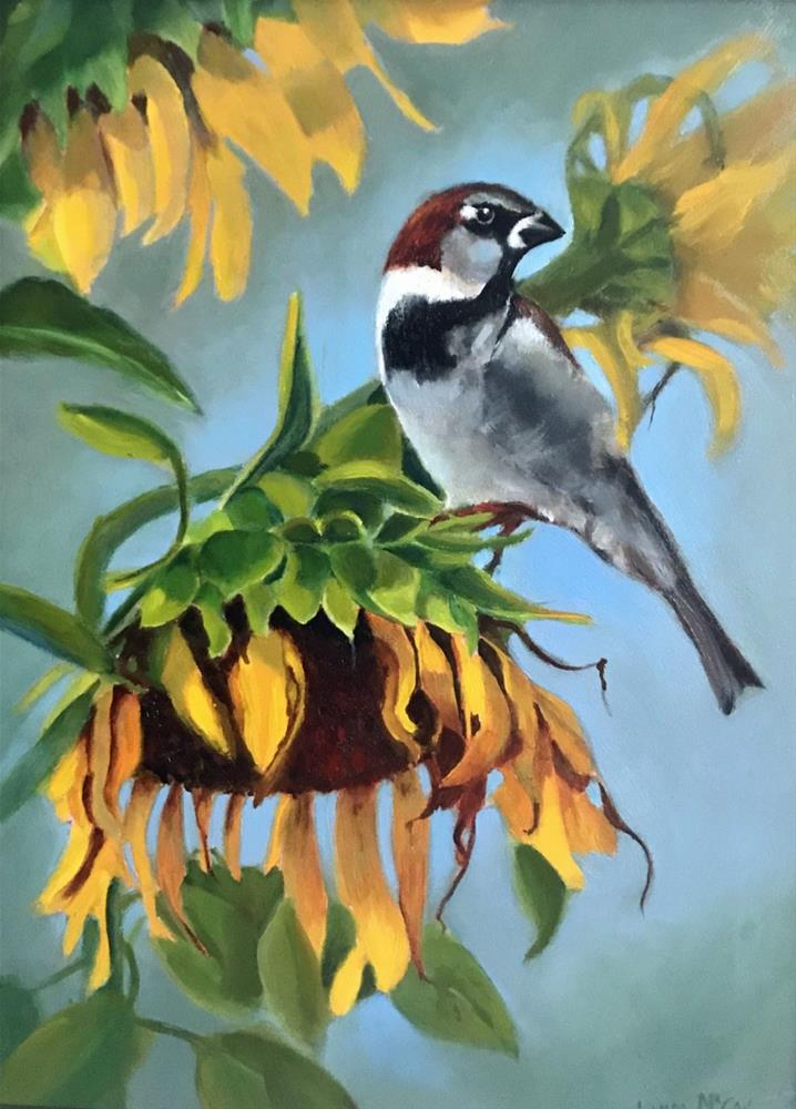 """August Feast, Sunflower and Sparrow"" original fine art by Linda McCoy"