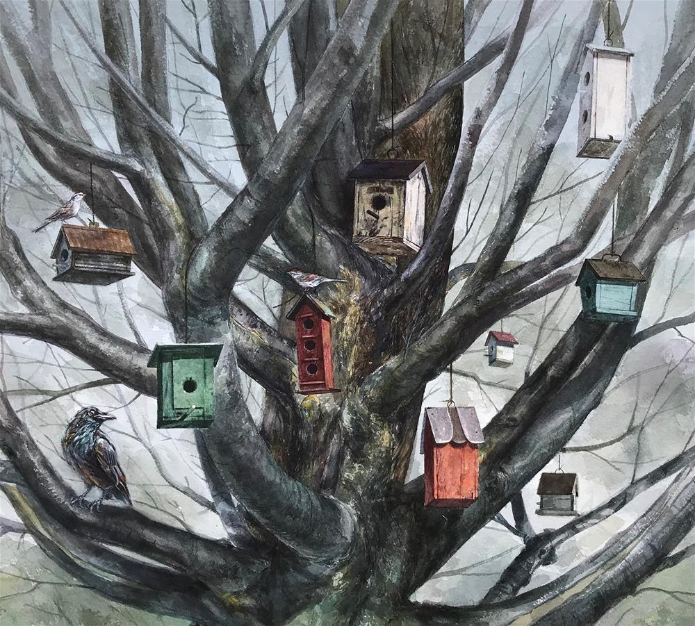 """Tree Houses - PRINTS AVAILABLE - $50 - $175"" original fine art by Stephen Ravenscraft"