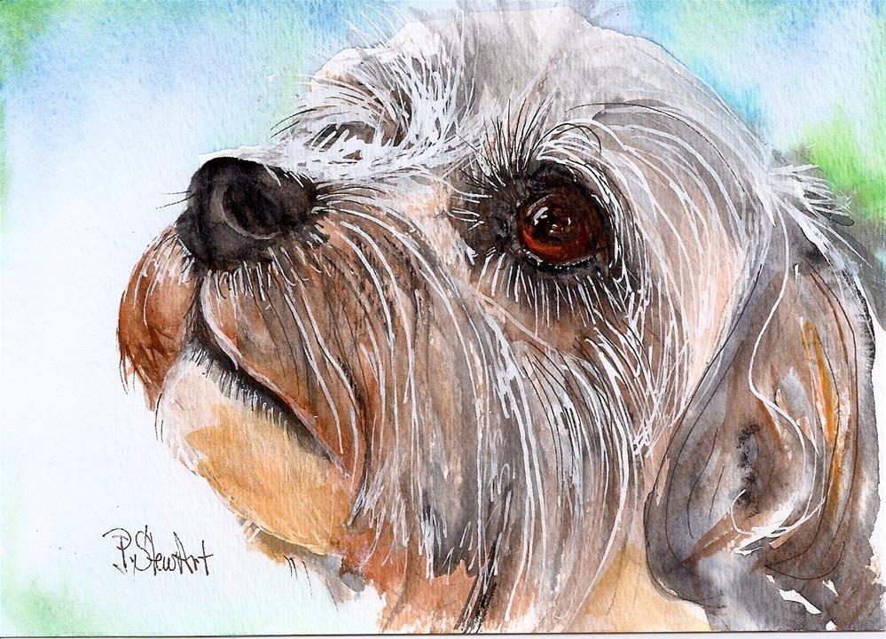 """5x7 Dixon, Pet Portrait Watercolor and Higgins White Ink by Penny StewArt"" original fine art by Penny Lee StewArt"