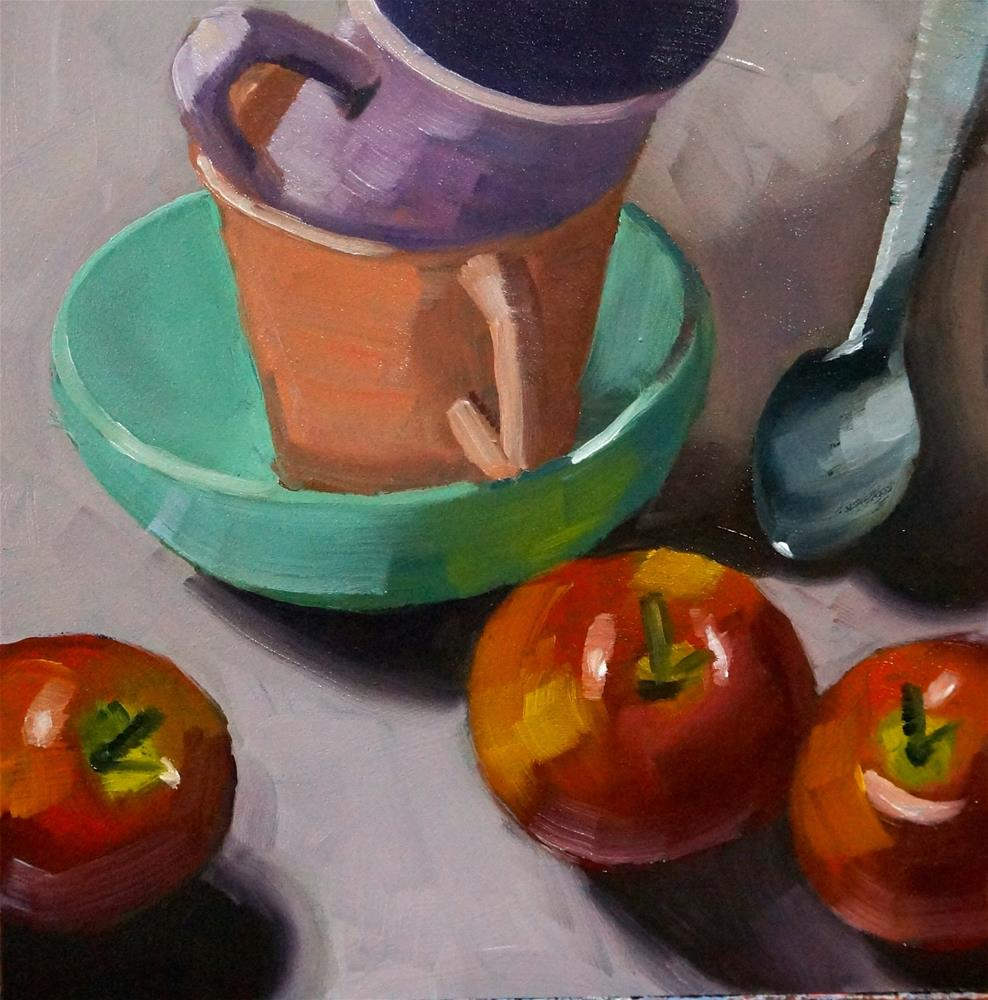 """Apples with cups"" original fine art by Dipali Rabadiya"
