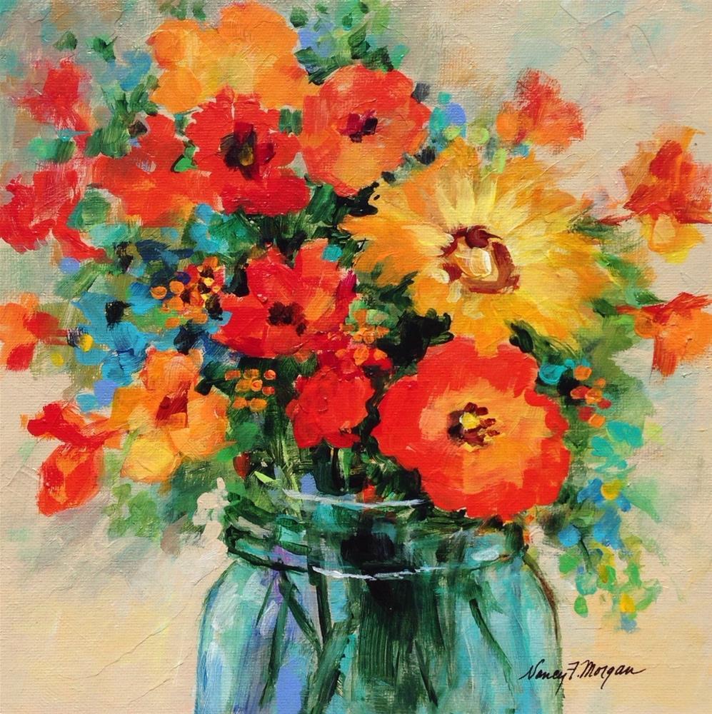 """""""Midsummer Bouquet"""" original fine art by Nancy F. Morgan"""