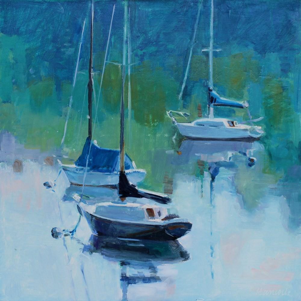 """Blue Harbor and Sailboats"" original fine art by Gretchen Hancock"