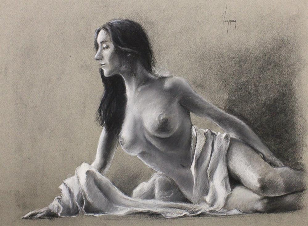 """""""nude study in charcoal (reclined)"""" original fine art by Marco Vazquez"""