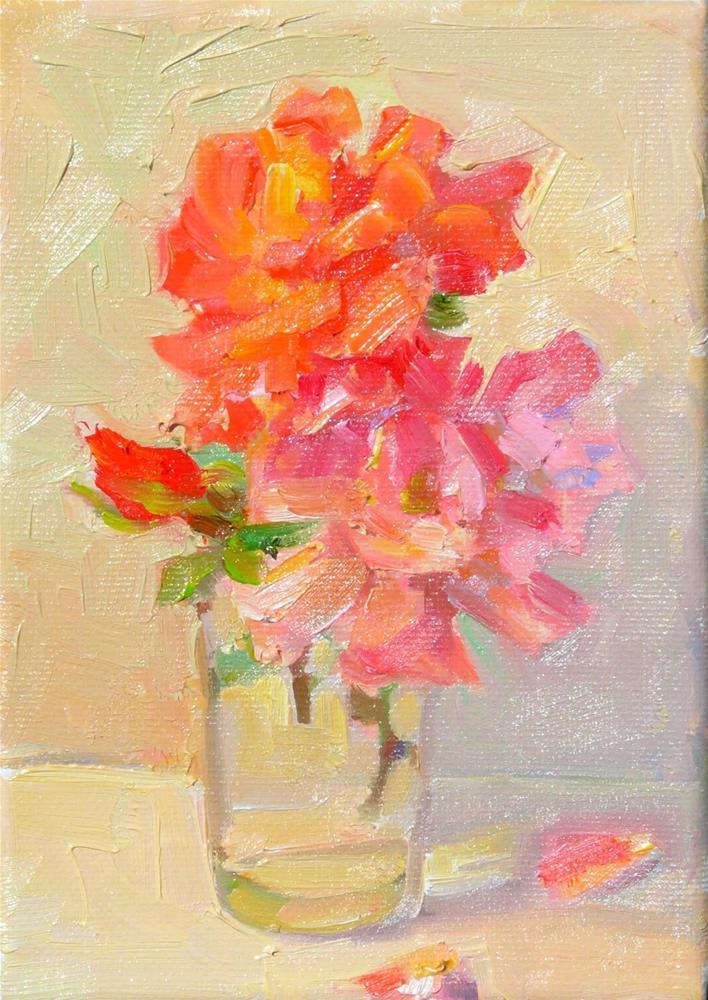 """Studio Roses,still life,oil on canvas,7x5,price$175"" original fine art by Joy Olney"