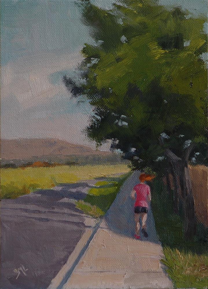 """""""Squeezing in a Quick Run"""" original fine art by Sheila Marie"""