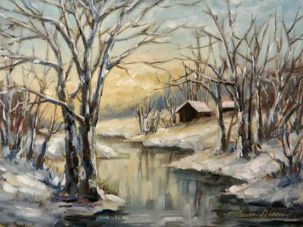 """Cabin by the Winter Stream"" original fine art by Tammie Dickerson"
