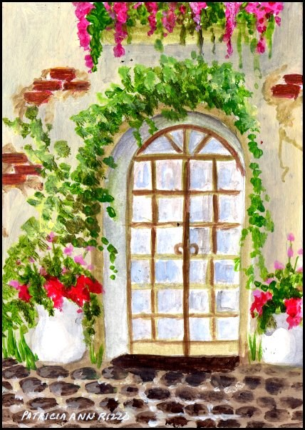 """Flowers near the Door"" original fine art by Patricia Ann Rizzo"