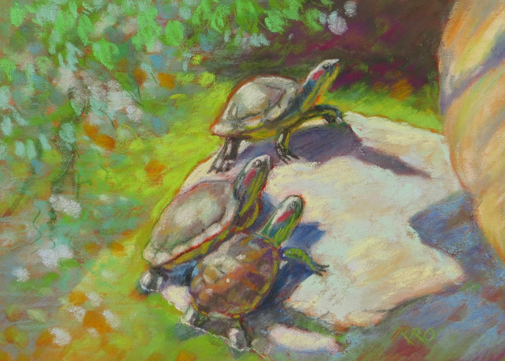 """Three Basking Turtles"" original fine art by Rhett Regina Owings"