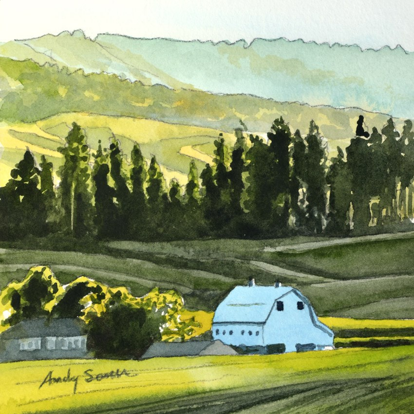 """White Barn Shadows - 6x6 watercolor by Andy Sewell"" original fine art by Andy Sewell"