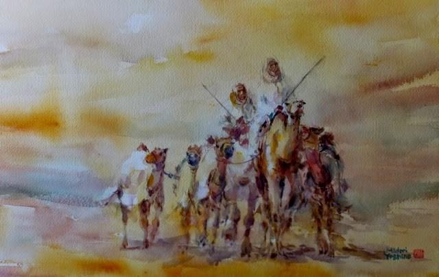"""""""Al Ain Camel race track 1"""" original fine art by Midori Yoshino"""