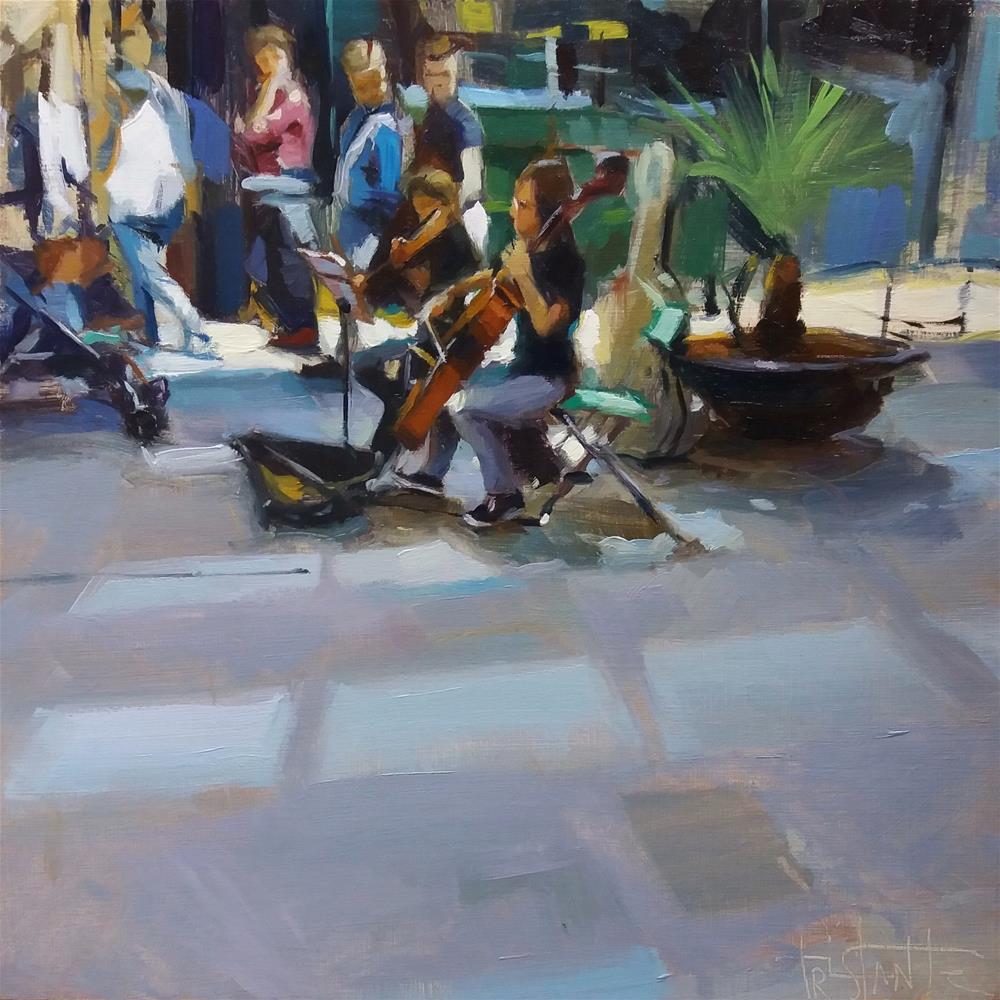 """Street musicians"" original fine art by Víctor Tristante"