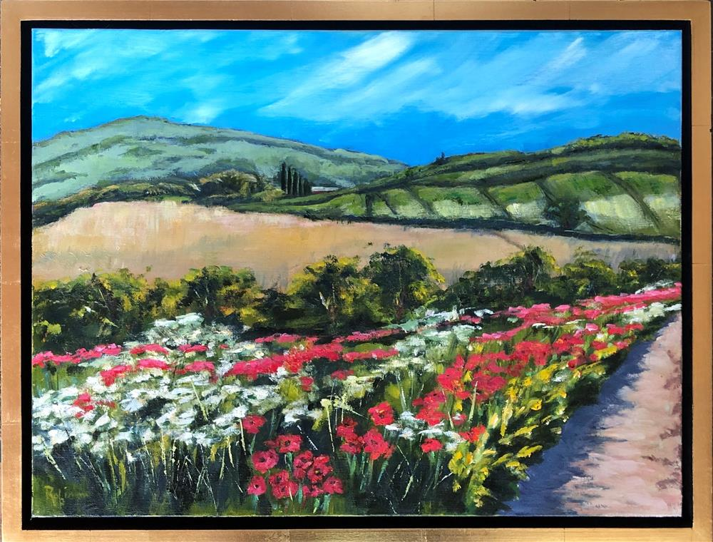 """Inspired by the Camino #5, Wild flowers by the Road"" original fine art by Renee Robison"