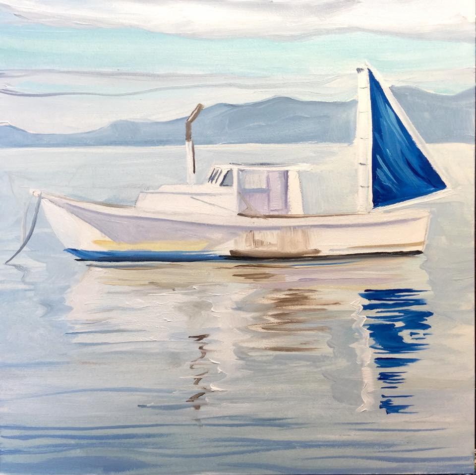 """Blue Sail"" original fine art by Lauren Kuhn"
