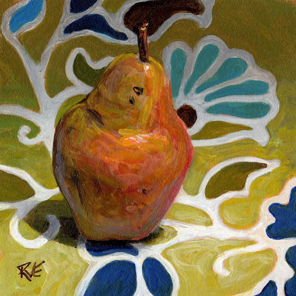 """Pear on the table"" original fine art by Ruth Van Egmond"