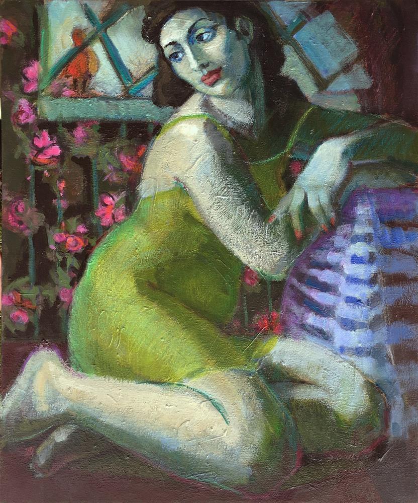 """Bird In The Window, figurative painting of woman, contemporary figure painter, women art, discr"" original fine art by Marie Fox"