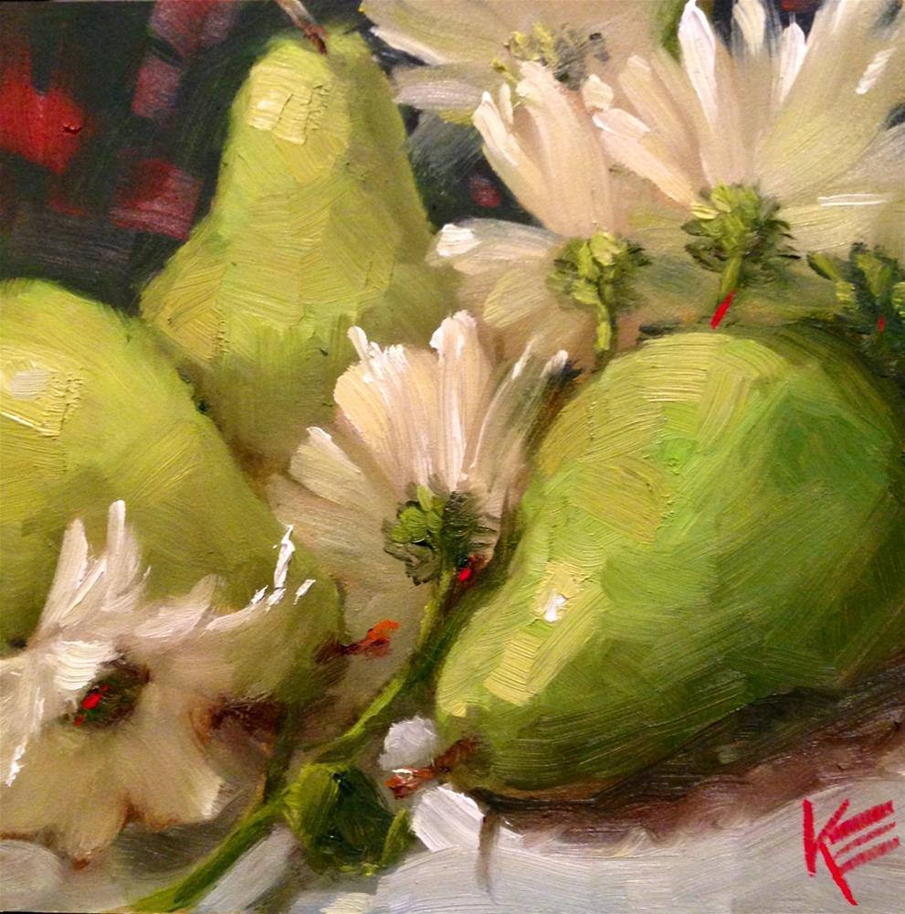 """""""Pears & Daisies"""" original fine art by Krista Eaton"""