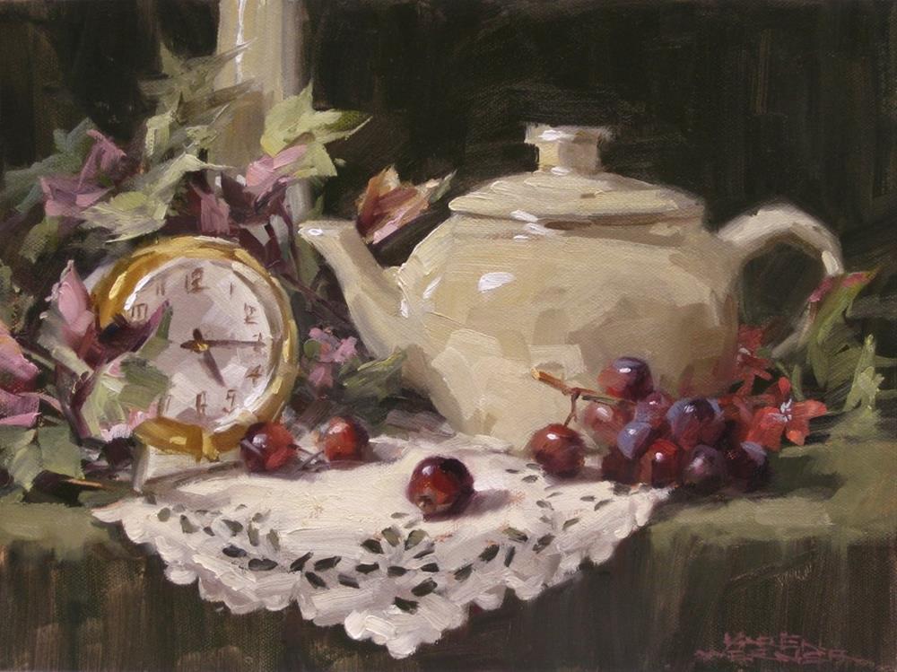 """""""Tea, Time, & Grapes"""" original fine art by Karen Werner"""
