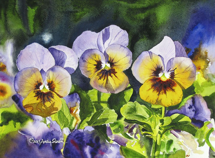 """""""Pansy Trio"""" original fine art by Andy Sewell"""