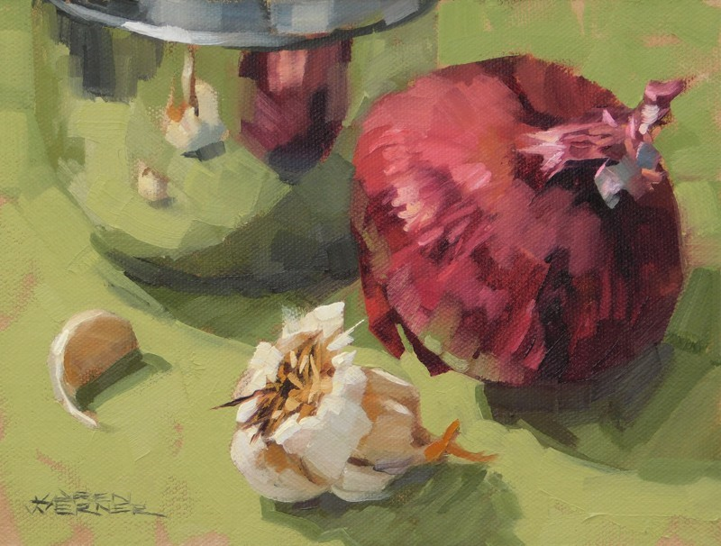 """Garlic & Onion"" original fine art by Karen Werner"