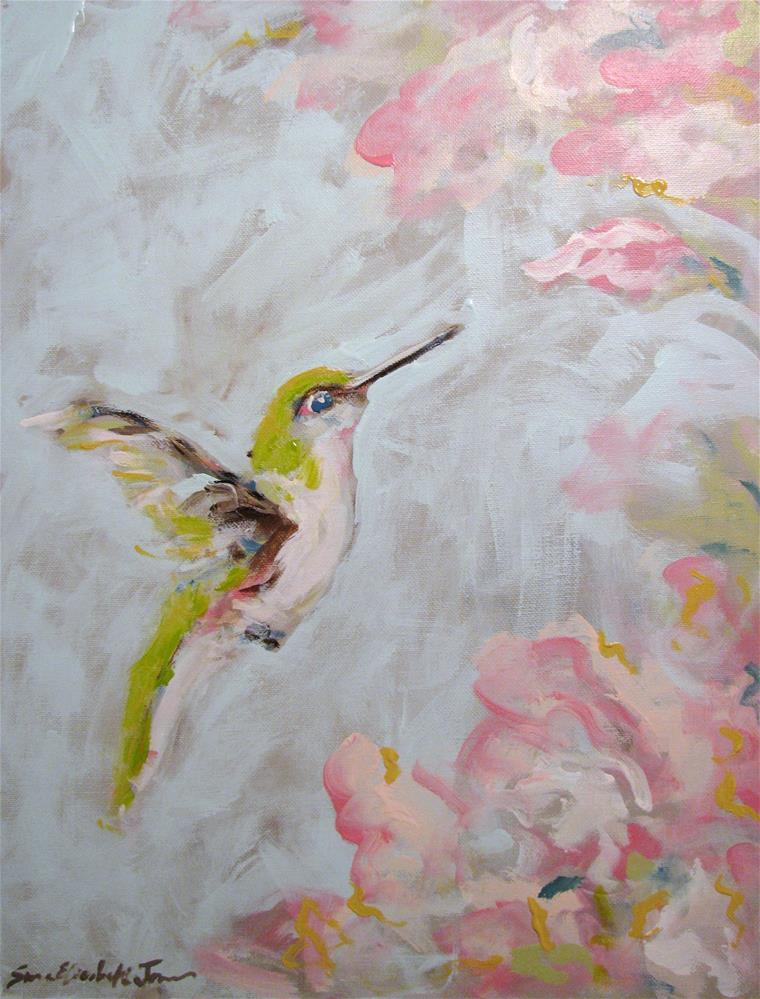 """""""Hummingbird in Pink"""" original fine art by Susan Elizabeth Jones"""