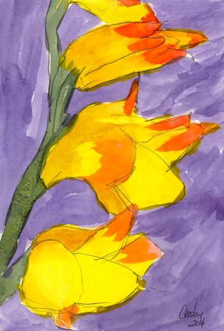 """""""Garden Glads"""" original fine art by Donna Crosby"""