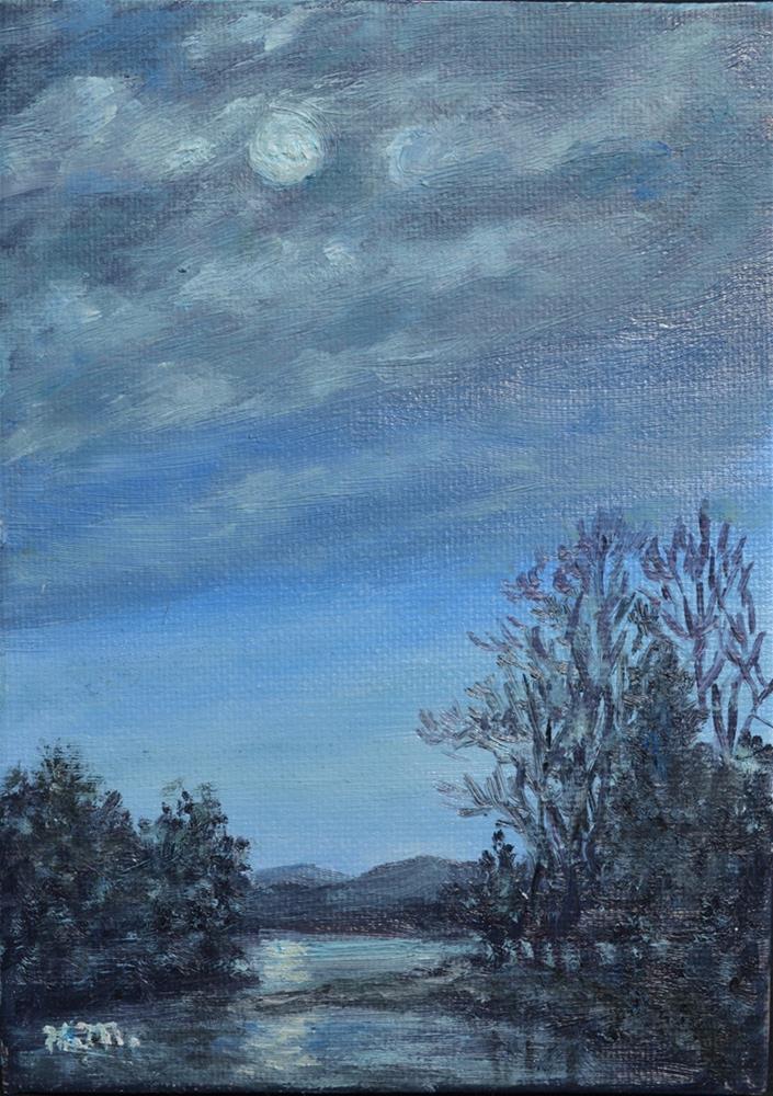 """Moonlight Study # 1 (C) 2016 by K. McDermott"" original fine art by Kathleen McDermott"