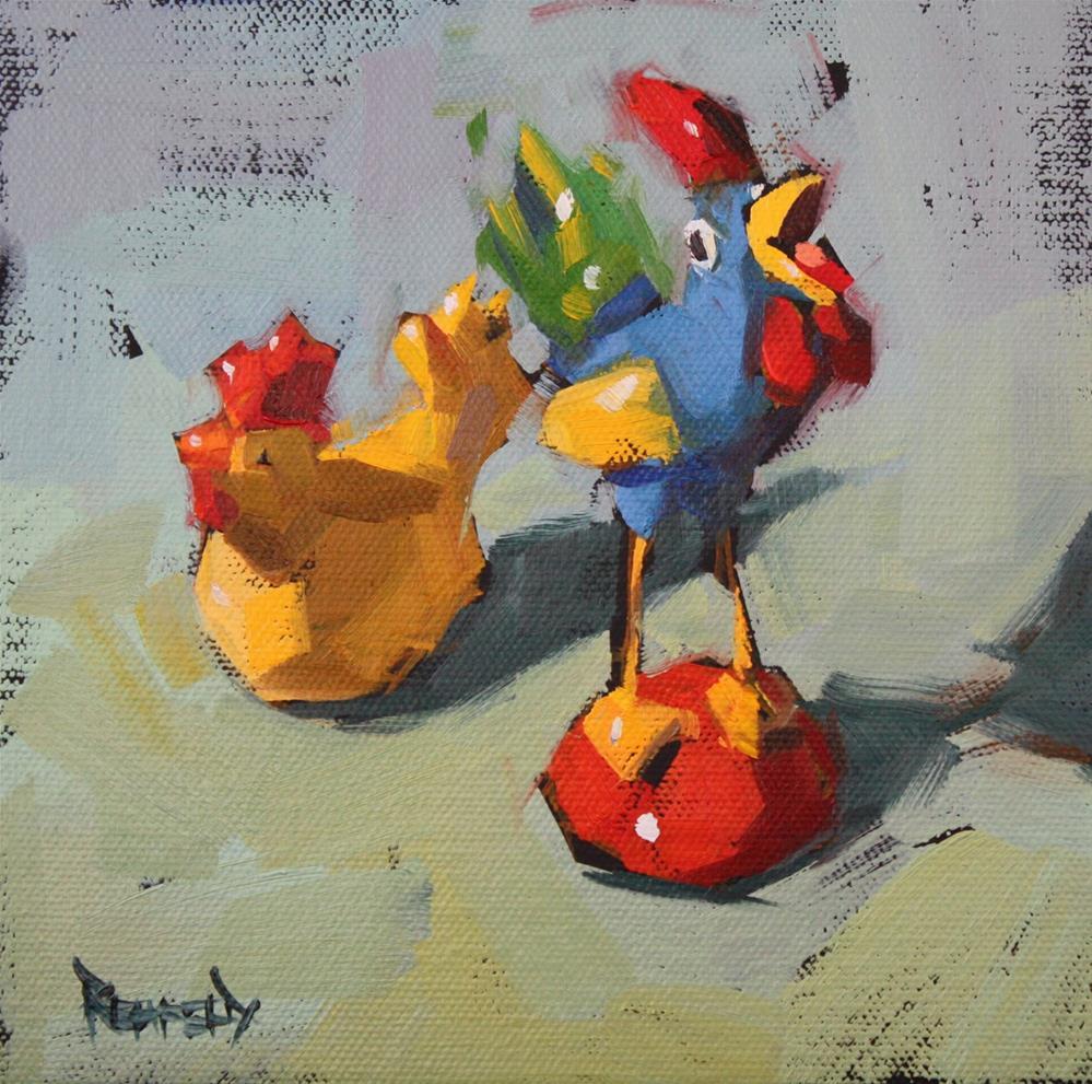 """Silly Chickens"" original fine art by Cathleen Rehfeld"