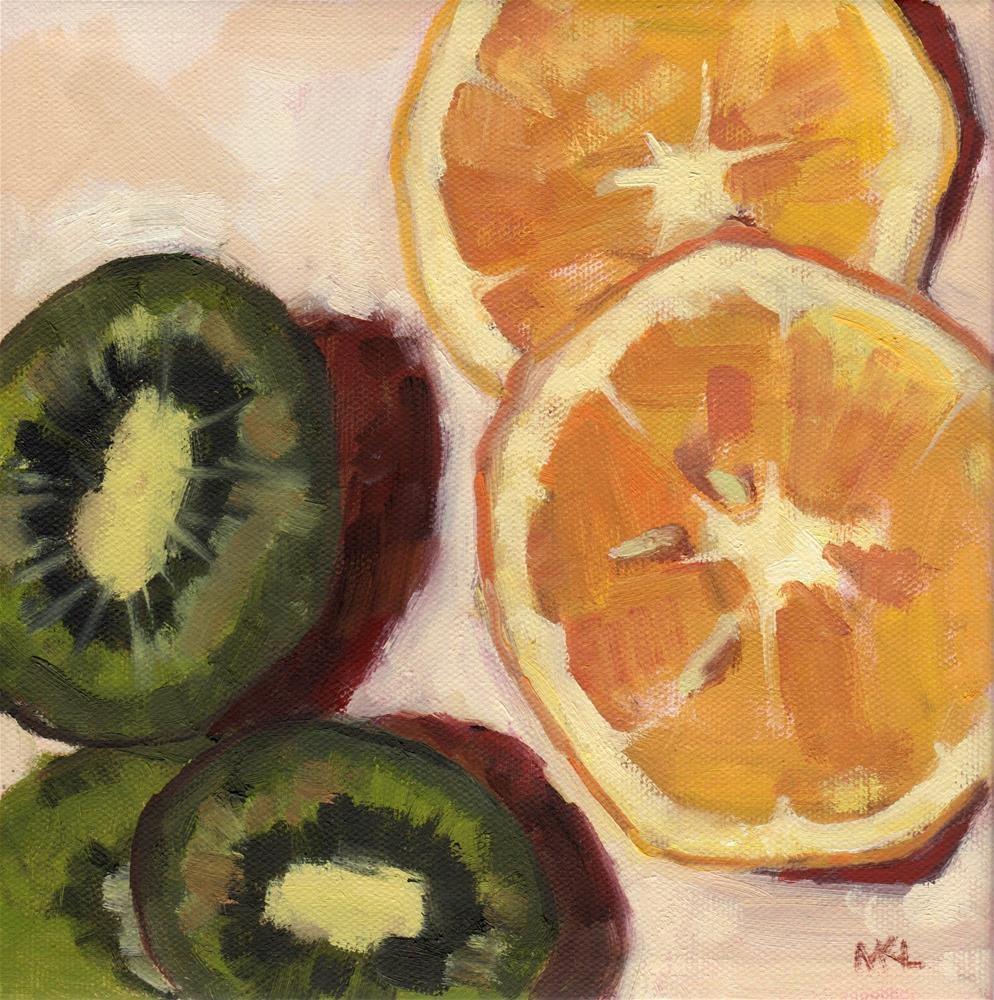 """Orange and Kiwi Slices"" original fine art by Marlene Lee"