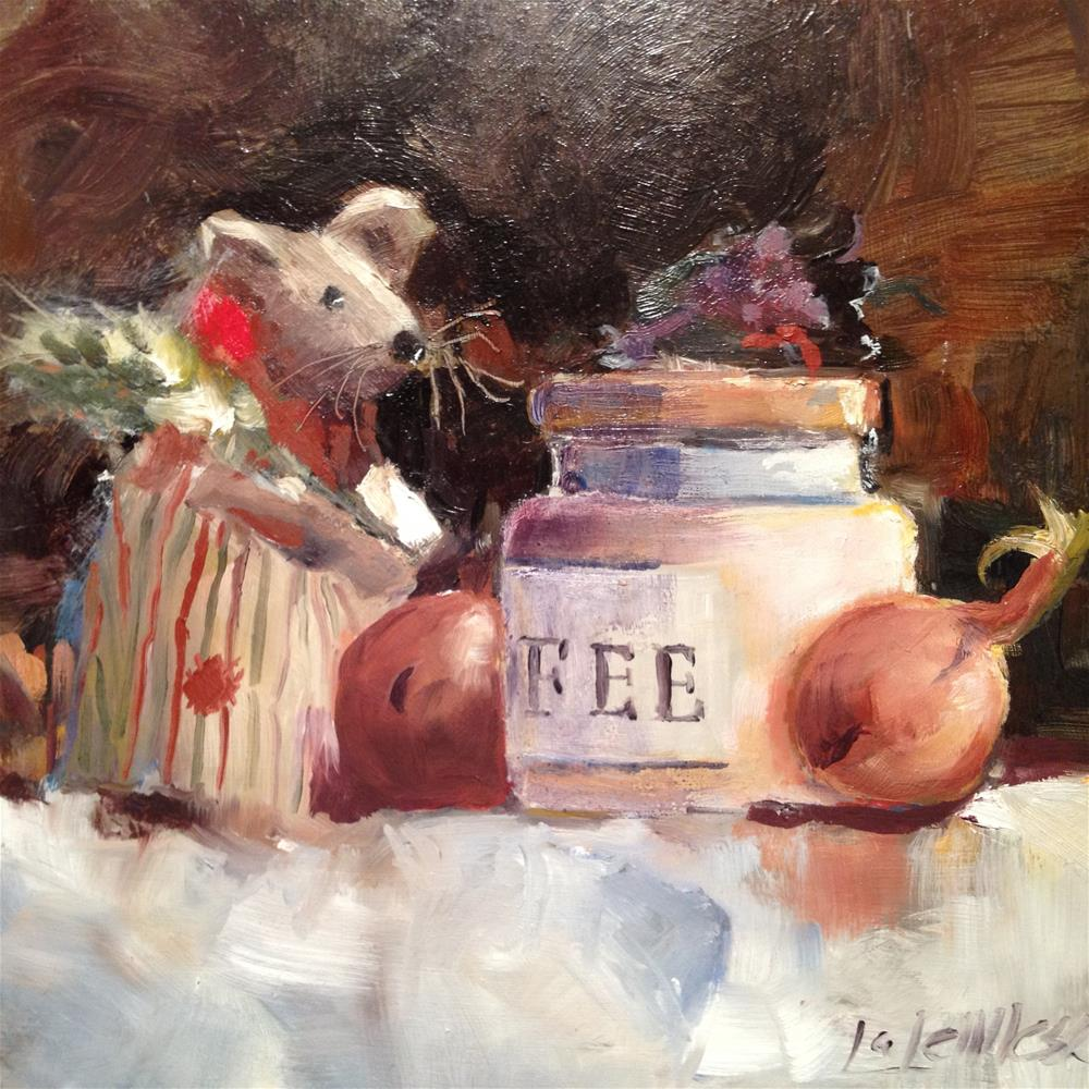 """""""Mouse in the kitchen"""" original fine art by Nancy Lajeunesse"""