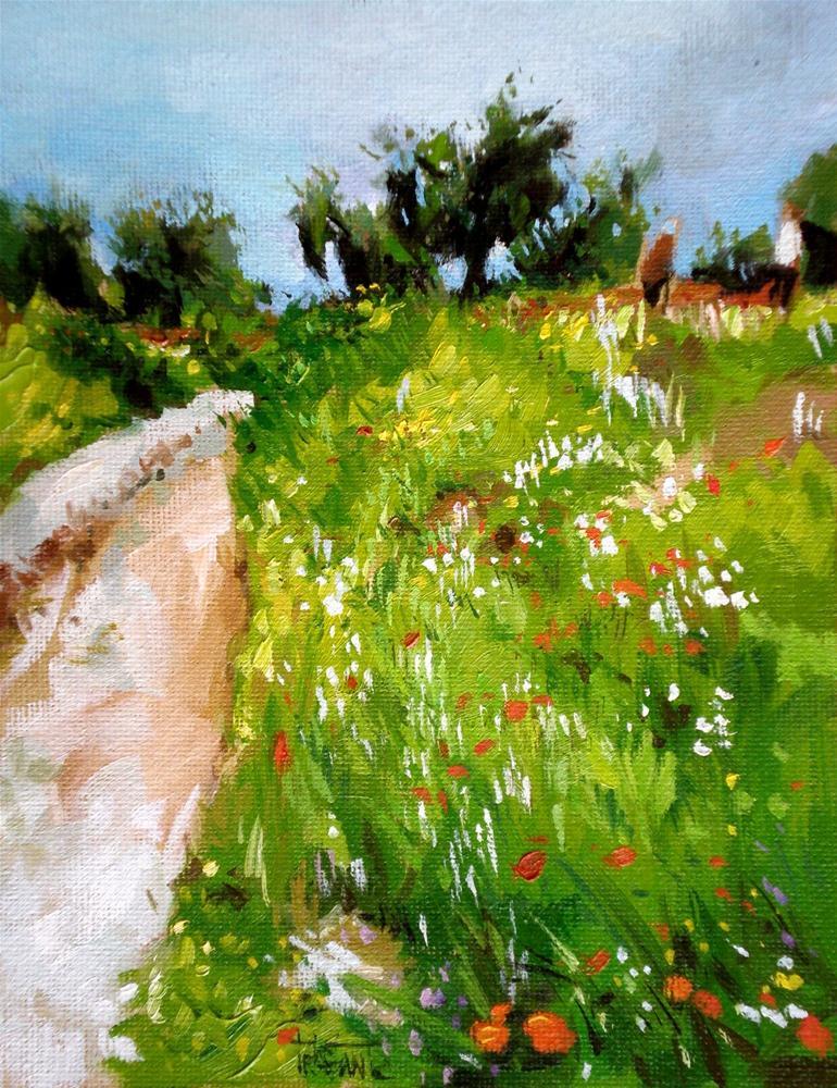 """Path of flowers"" original fine art by Víctor Tristante"