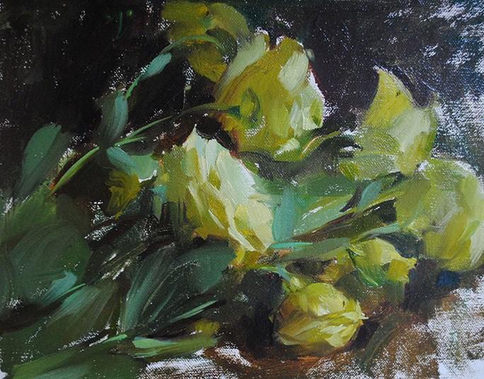 """Yellow roses"" original fine art by Taisia Kuklina"