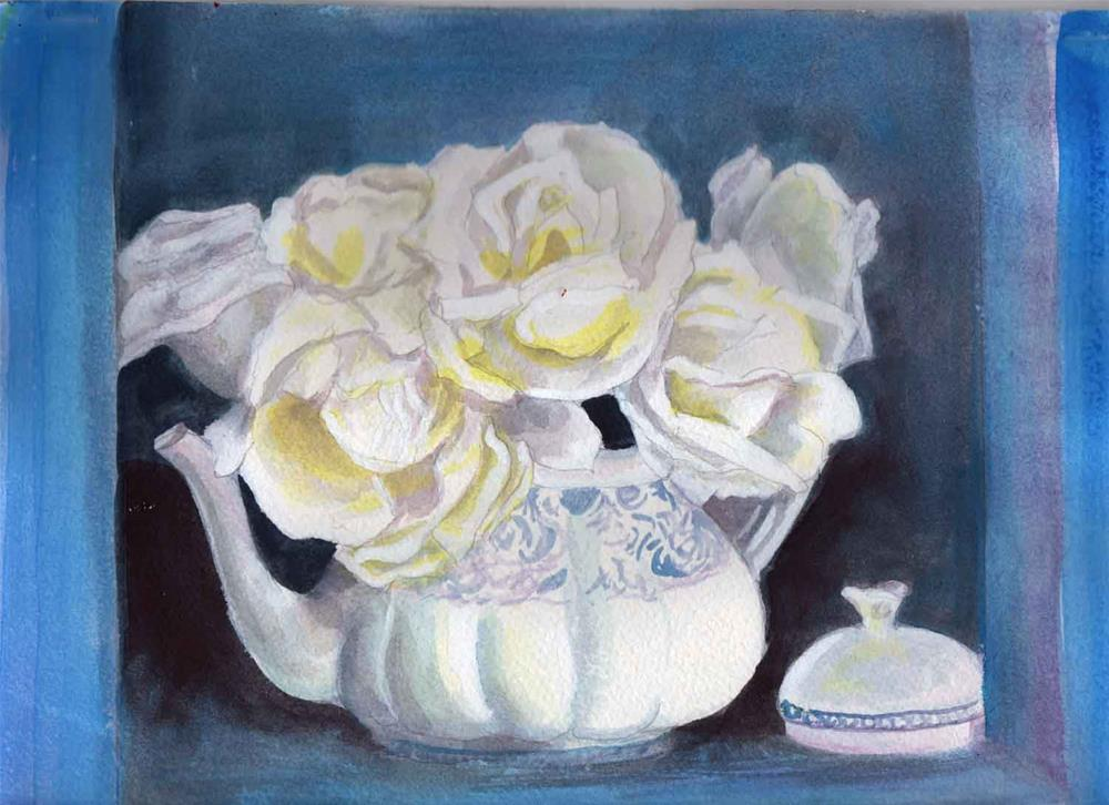 """""""White Roses, Blue/white teapot"""" original fine art by Bunny Griffeth"""