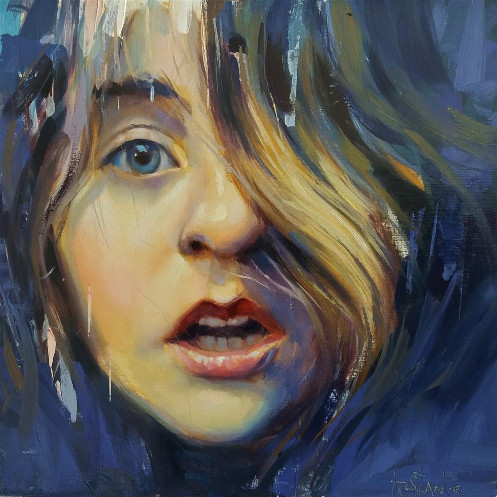 """Blue girl"" original fine art by Víctor Tristante"