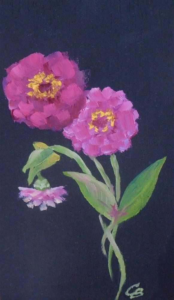 """""""Tiny Zinnias, 3x5 Oil Painting on Wood Panel, Floral Daily Painting"""" original fine art by Carmen Beecher"""
