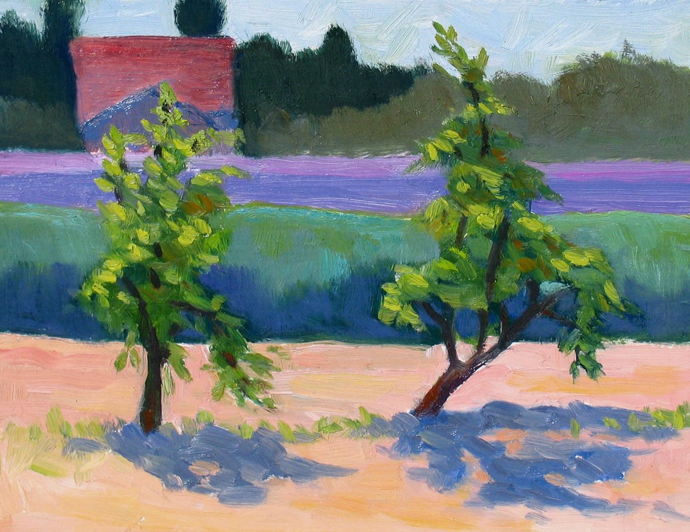 """New Trees in the Lavender Field"" original fine art by Rhett Regina Owings"