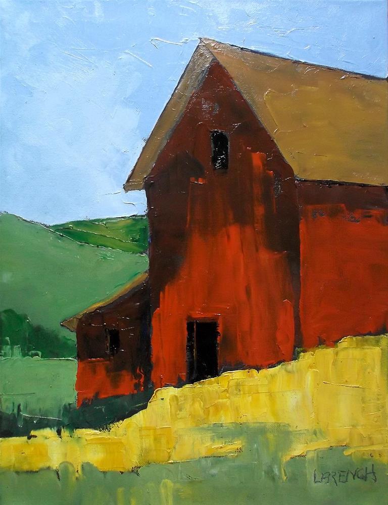 """""""Red Barn"""" original fine art by lynne french"""