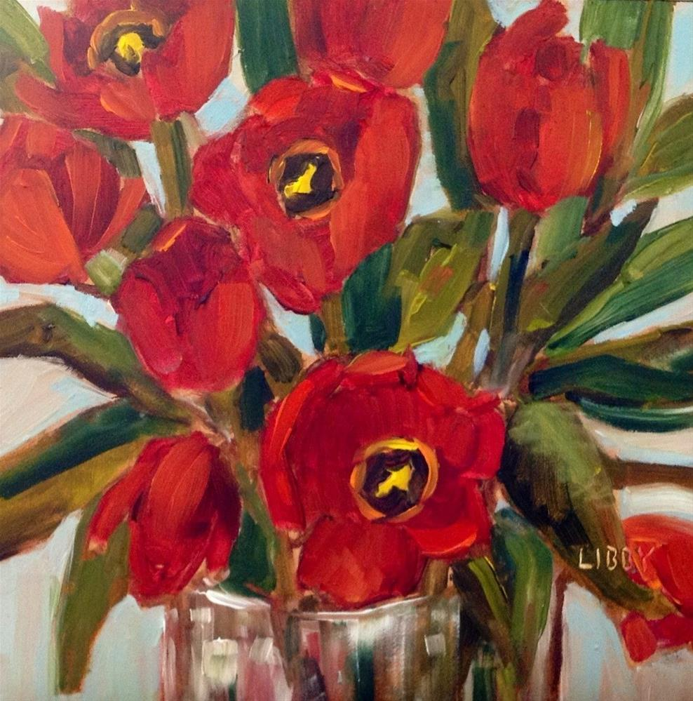 """""""Red Tulips"""" original fine art by Libby Anderson"""