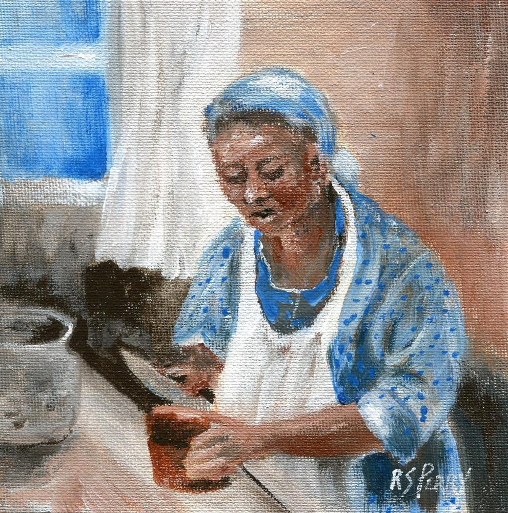 """Gullah Woman Slicing Bread untitled"" original fine art by R. S. Perry"