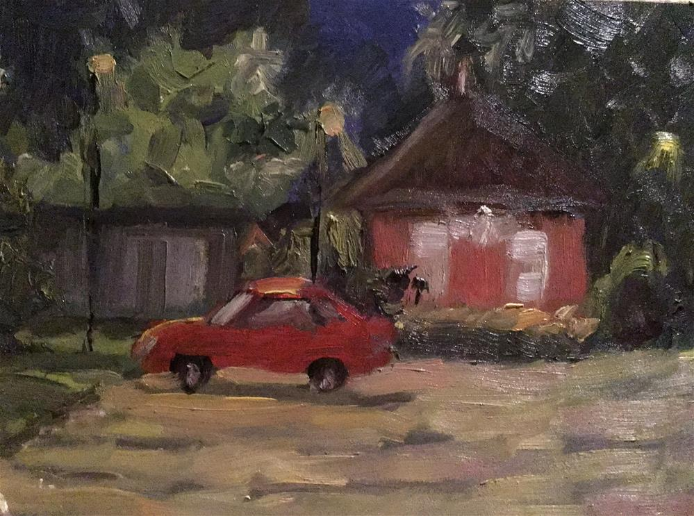 """""""Night at the depot"""" original fine art by Judith Anderson"""