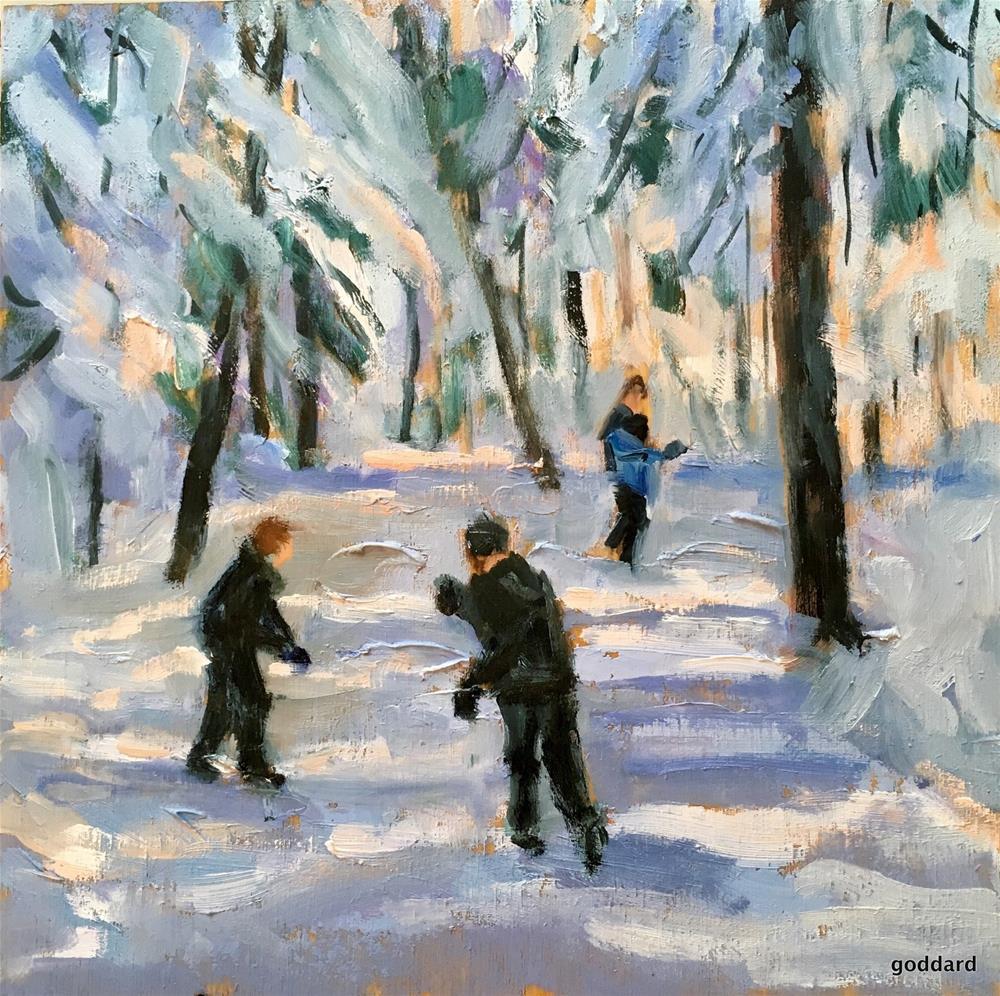 """Snowball Fight"" original fine art by Shari Goddard Shambaugh"