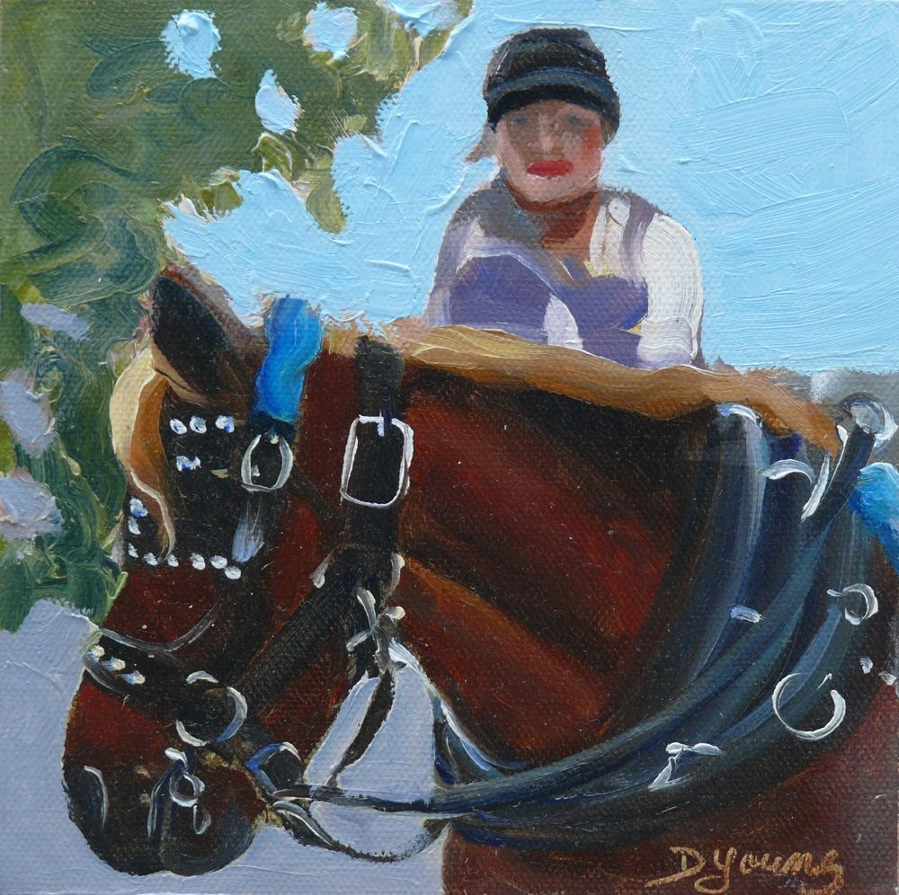 """Carriage Horse and Driver, oil on canvas board, 6x6"" original fine art by Darlene Young"