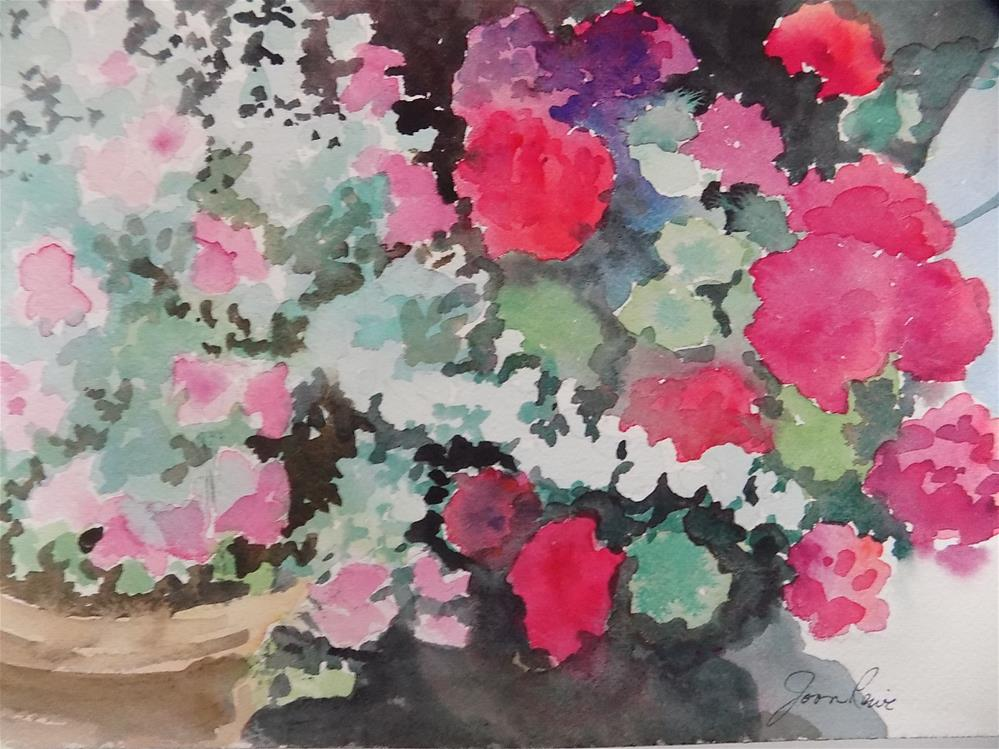 """Geraniums #3"" original fine art by Joan Reive"