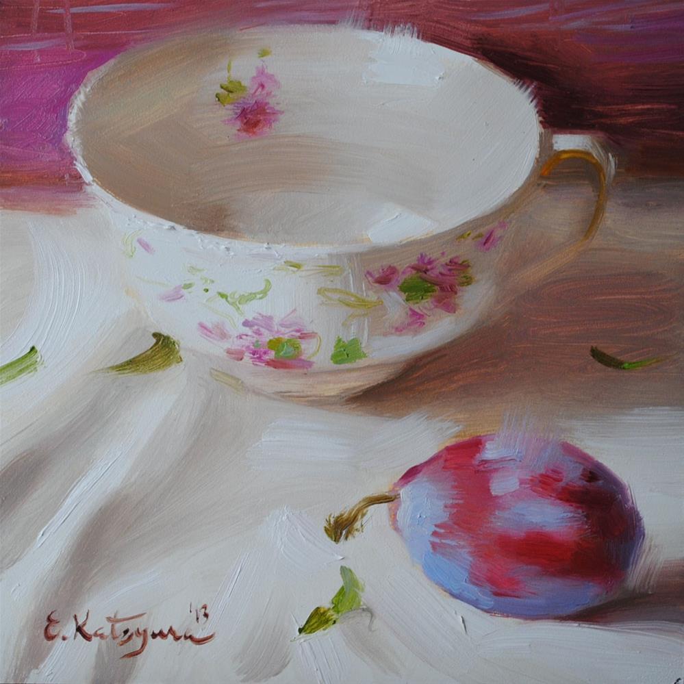 """Teacup and Plum"" original fine art by Elena Katsyura"