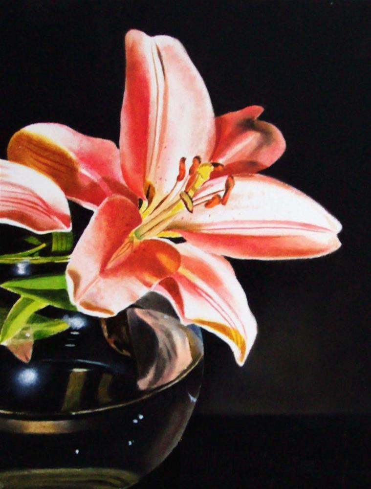 """""""Pink Daylily in Glass"""" original fine art by Jacqueline Gnott, TWSA, WHS"""
